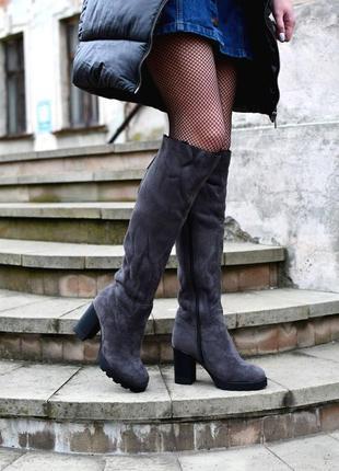 Зимние ботфорты сапоги зимняя обувь замшевые сапоги