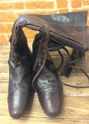 Кожаные сапоги с высоким голенищем,на змейке и со шнуровкой,38 размер на узкую ногу