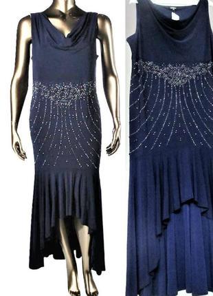 Вечернее платье батал макси с декором на бедрах асимметричной длины plus 20w