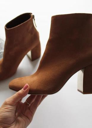 Шикарные коричневые ботинки сапожки на каблуке эко замш 37 stradivariu