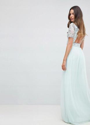 Бирюзовое шифоновое платье расшитое пайетками
