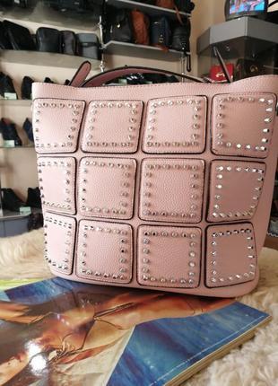 ❤️ новая большая сумка, шипы, эко кожа, розовая,