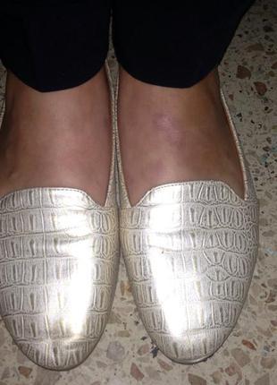 Золотые балетки под крокодила 39 размер
