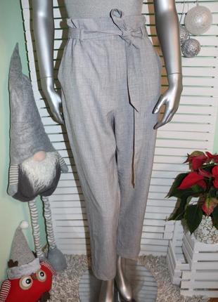 Серый брюки с высокой талией h&m