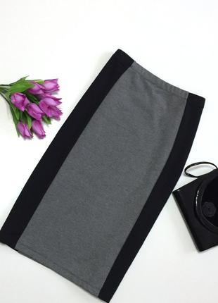 Стильная качественная юбка карандаш со вставкой tu, р.18