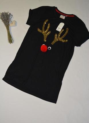 Новогодняя женская футболка george англия размер 42 евро