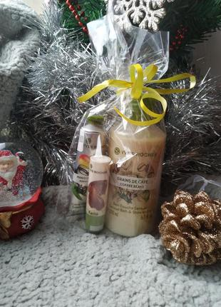 Подарочный набор ив роше: гель кофе, бальзам для губ, крем для рук