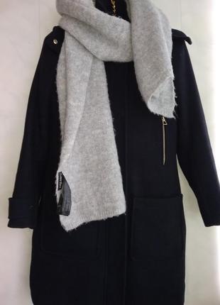 Объемный серый  шарф с мягким трикотажем zara accessories turkey