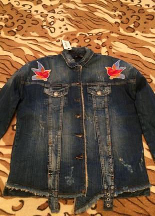 Супер тёплая удлинённая джинсовая куртка amn