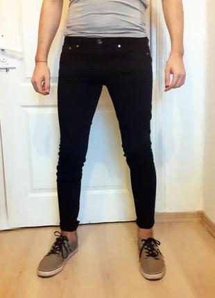Мужские черные джинсы denim h&m зауженные узкие skinny стрейч