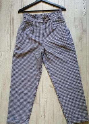 Летние брюки в клетку с высокой посадкой  topshop