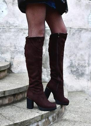 Зимние ботфорты сапоги зимняя обувь замшевые ботинки