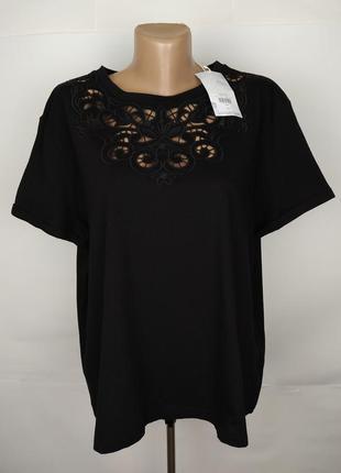 Блуза новая трикотажная шикарная с кружевной кокеткой warehouse uk 18/46/xxl