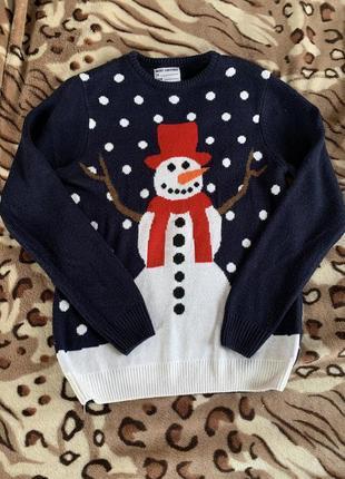 Свитер новогодний женский снеговик синий санта клаус новый год
