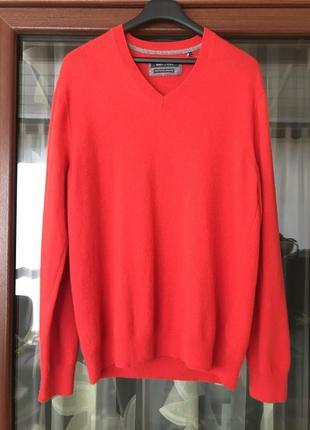 Пуловер шерстяной мужской стильный модный дорогой бренд marco polo размер xl