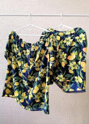 Крутой костюм, футболка и шорты в лимоны
