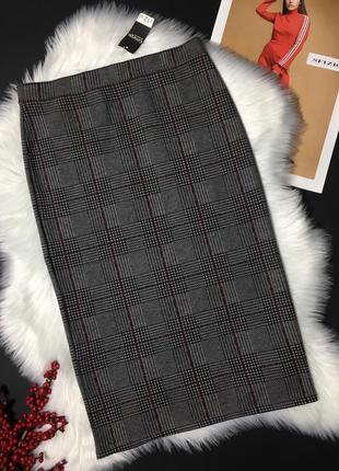 Облегающая юбка трикотаж в актуальную клетку с биркой