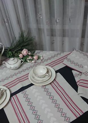 Комплект для чаепития: две чайные скатерти, салфетки, лен. винтаж ,германия