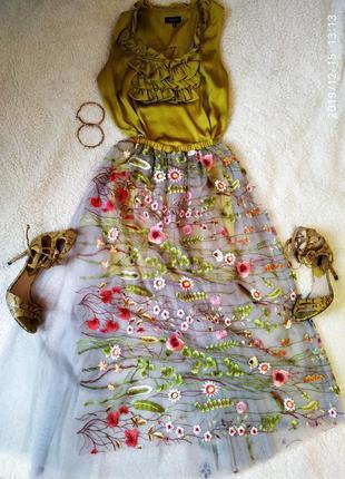 Праздничный нарядный  костюм с юбкой цветы сетка