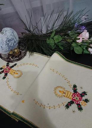 Новогодняя чайная скатерть,винтаж, германия