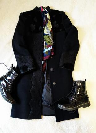 Чёрное классическое теплое зимнее пальто кашемир