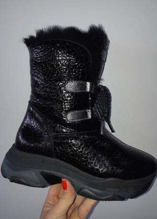 Зимние кожаные ботинки alpino