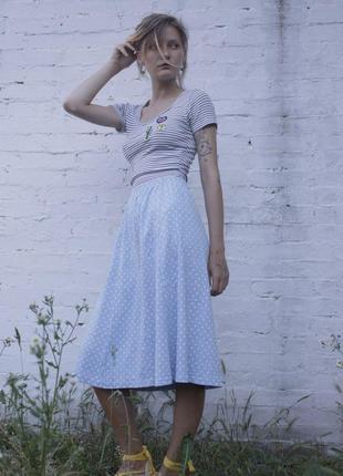 """Винтажная голубая хлопковая юбка-миди в горошек """"damart"""", размер m"""