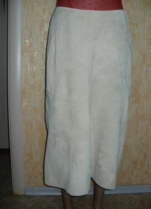 Отличная жемчужная мягчайшая замшевая юбка из кожи ягнёнка.кожаная юбка.юбка.замшевая юбка