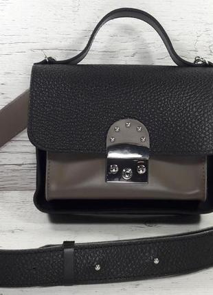 Новинка! красивая женская кожаная сумка с широким ремнём чёрная с коричневым