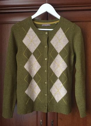 Кардіган із шерсті в орнамент, колір оливки, розмір s, бренда cristian berg