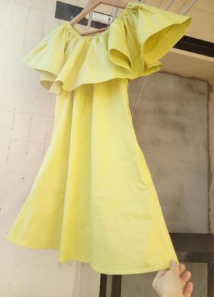 Платье сарафан оливковое хаки волан рюш оборка  плечи коттон just woman турция