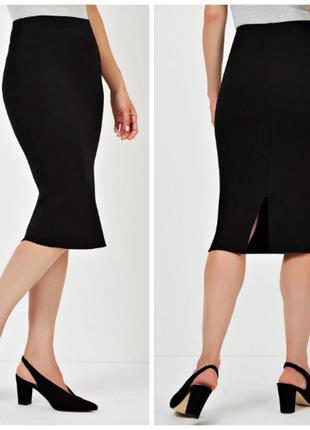Стильная облегающая юбка миди из плотного трикотажа р.16