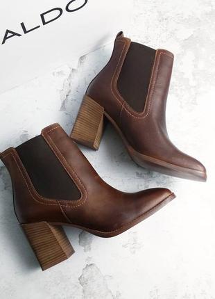 Aldo оригинал кожаные коричневые ботинки челси