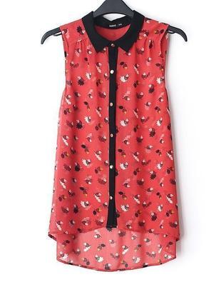 Легкая милая шифоновая блузочка с желудями oasis • р-р s (10\36)