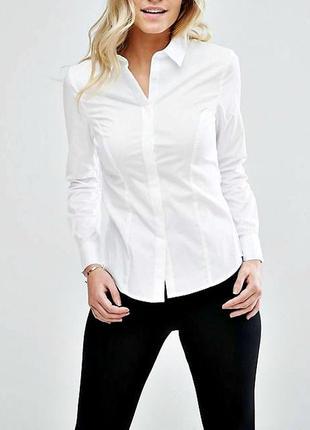 Белая приталенная рубашка с длинным рукавом р.16