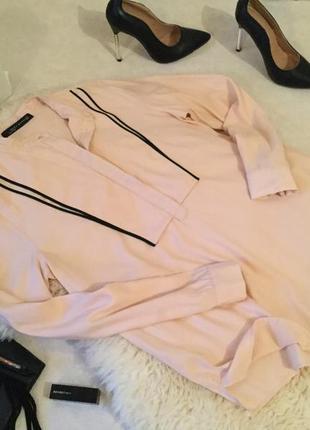 Крутая и стильная рубашка блуза бежево - пудрового цвета zara, р. м...💄