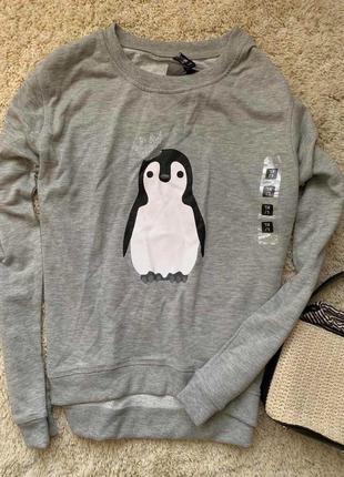 Свитер свитшот с пингвином реглан худи толстовка джемпер
