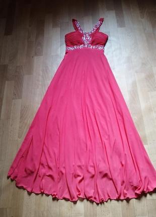 Корраловое платье в пол, р 44-48