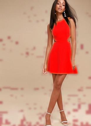 Topshop яркое красное мини платье с вырезами по талии, р.12-40, s-m
