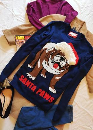 Свитер унисекс новогодний синий с собакой в новогодней шапке оверсайз