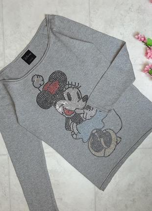 1+1=3 стильный серый теплый свитер лонгслив с микки - маусом disney, размер 44 - 46