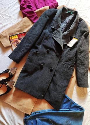 Пальто серое тёмное прямое бойфренд средней длины оверсайз шерсть canda