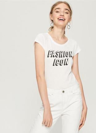 10-58 женская футболка sinsay с надписью fashion icon