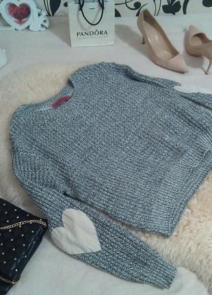 Супер крутой свитер меланжевого цвета с подлокотниками ❤️из эко-замши на р.м...💄