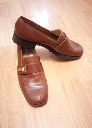 Туфли закрытые лоферы коричневые фирменные оригинал ralph lauren
