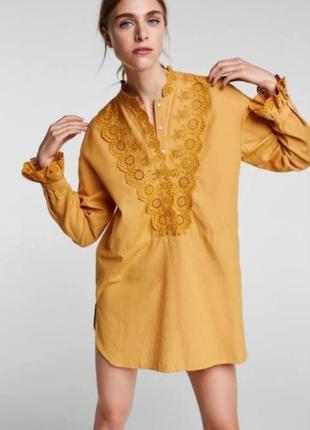 Удлиненная льняная рубашка zara
