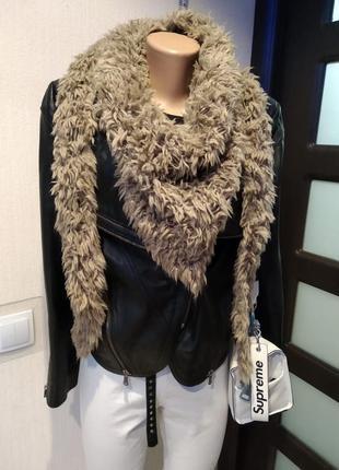 Мягусенький теплый объемный шарф косынка травка