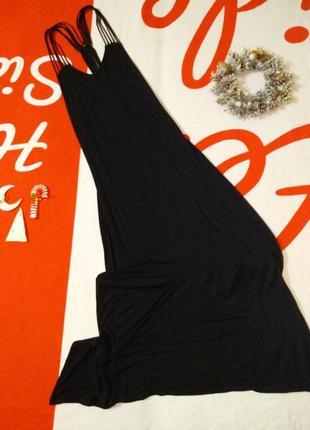 Длинный сарафан платье макси на тонких бретельках открытая спина
