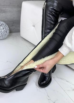 Кожаные ботфорты зимние сапоги обувь на зиму кожа зимняя обувь