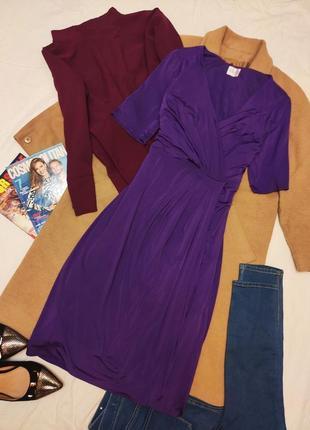 Kaliko платье фиолетовое микромасло миди классическое большое на подкладке